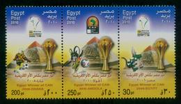 EGYPT / 2010 / SPORT / FOOTBALL / CAN / EGYPT2006-GHANA2008-ANGOLA2010 / 3 MNH VF STAMPS . - Nuovi
