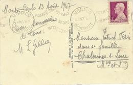 """1947- C P A De MONACO Affr. 3 F  Oblit. Flamme Krag  """"MONACO SEPTbre 1947 / CHAMPION .t  D'EUROPE / DE NATATION """" - Briefe U. Dokumente"""