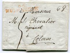 HAUT RHIN De MULHOUSE LAC Du 28/04/1803 Linéaire Rouge 51x11 Taxée 5 Pour COLMAR - Storia Postale