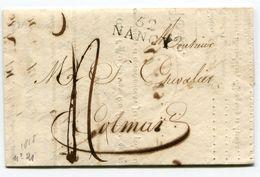 MEURTHE ET MOSELLE De NANCY LAC Du 14/12/1818 Linéaire 28x11 + Taxe De 4 Pour COLMAR - Storia Postale