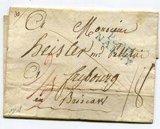MEURTHE ET MOSELLE De NANCY LSC Non Datée Pour FRIBOURG Linéaire Bleue De Port Payé + Verso Taxe De 6+3=9 - 1801-1848: Précurseurs XIX