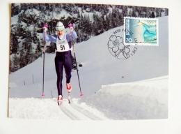 Card Maximum From Liechtenstein Sport Olympic Games Nagano Japan 1998 Special Cancel 1997 Ski Skiing - Liechtenstein