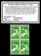 United States 1947 Block USA Everglades Park Dedication Birds Wildlife Nature Bird Cranes Crane 3c Stamps MNH Scott 952 - Verenigde Staten