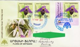 RARE NAGORNO MOUNTAINOUS KARABAKH ARTSAKH ARMENIA ORCHID FLORA FDC 2017 TO RUSSIA - Stamps