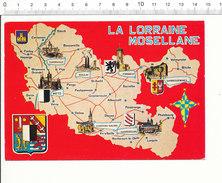 Département Moselle Lorraine Blason Boulay Chateau-Salin Sarreguemines Sarrebourg Carte Postale Géographique CP 68/39 - Cartes Géographiques