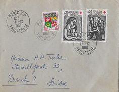 PARIS R.P PHILATELIE → Lettre De Paris ZURICH1 Suisse 1961 - France