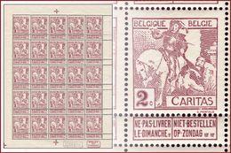 Belgium 0085** (F85**) Caritas 2c Petite Feuille / Sheet De 25** Luxe !  ( Br_vr ) - Feuilles Complètes