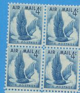 United States 1954 Block USA Eagle In Flight Birds Wildlife Nature Bird Eagles Air Mail 4c Stamps MNH Scott#C48 - Eagles & Birds Of Prey