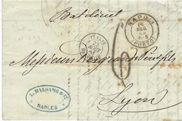 """1863- Lettre De NAPOLI ( Porto ) """" Bat Direct  """" Taxe 6 D. Sarde  Entrée Bleue ITALIE / MARSEILLE Pour Lyon - Correo Marítimo"""