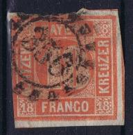 BAYERN:  Mi Nr 13 B Lebhaftorange Rot  Obl./Gestempelt/used Cancel 356 - Bavière
