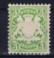 BAYERN:  Mi Nr 37 C Dunkelgrünlich Grün MH/* Falz/ Charniere 1876 - Bavière