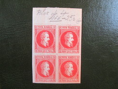 AN 1865 PRINCE ALEXANDRE . YVERT NR 13 ROUGE NON EMIS. RARE EN BLOC DE 4 - 1858-1880 Moldavie & Principauté
