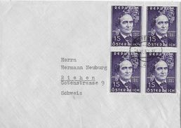 WIEN → Geschäfts-Umschlag Alfred Schwarz GV Grossspinnereien 1962 Nach Riehen - 1945-.... 2ème République