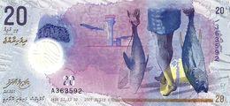 MALDIVES 20 RUFIYAA PURPLE AIRPLANE FISH FRONT BOAT BACK POLYMER DATED 05-10-2015 P.? UNC READ DESCRIPTION !! - Maldives