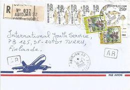 Cote D'Ivoire 2002 Abidjan 22 Termitomyces Mushroom AR Advice Of Receipt Registered Cover - Ivoorkust (1960-...)
