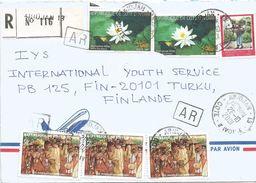 Cote D'Ivoire 2001 Abidjan 13 Water Flower Nymphea Mask AR Advice Of Receipt Registered Cover - Ivoorkust (1960-...)