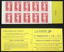 CARNET 2629-C1 10 MARIANNE BRIAT 2,30F Rouge TB Cote 34€ - Definitives