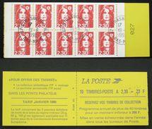 CARNET 2629-C1 10 MARIANNE BRIAT 2,30F Rouge TB Oblitéré Cote 34€ - Definitives