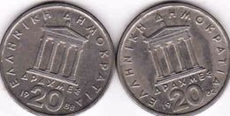 Greece, 2 X 20 Drachmes 1982, 1988 - Griechenland