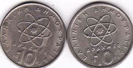 Greece, 2 X 10 Drachmes 1986, 1992 - Griechenland