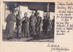 Foto Sternberg Bahnhof Eisenbahn K.u.K. KuK Offiziere Kappenabzeichen Polnische Soldaten Kobylanski 1917 - Other