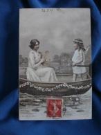 Femme Avec Une Lyre Et Fillette Avec Des Ailes D'ange Dans Une Barque - Ed. A & M.B. N° 477- Circulée 1907 - R167 - Illustrators & Photographers