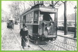 """PARIS 1920 Tramway Le """"Tram"""" Du Quai Du Louvre Carte Photo Originale En Tirage Limité à 1000 Exemplaires - District 01"""