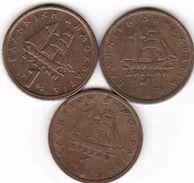 Greece, 3 X 1 Drachme 1976, 1978, 1980 - Griechenland