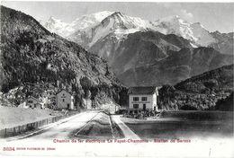 SERVOZ 74 HAUTE-SAVOIE 3834 PHOTOGLOB CHEMIN DE FER ELECTRIQUE LE FAYET-CHAMONIX STATION DE SERVOZ - France