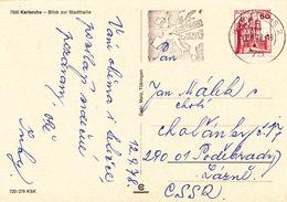 L4002 - BRD (1978) 75 Karlsruhe 2: KARLSRUHE Heart Of Europe (logo - Map); Postcard: Karlsruhe; Tariff: 50 Pf. - Geographie