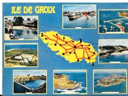 56 - ILE  De GROIX - Carte Multivues - Carte Géographique - Route Soulignées Rouge - YCA Belles éditions QUIMPER  3601 - Groix