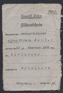 REPUBLIK BADEN 1933 FÜHRERSCHEIN LICENCE PERMIS KARLSRUHE PFORZHEIM POLICE POLIZEI BEZIRKSAMT - Documents Historiques