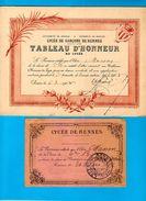 35 RENNES  Lycée De GARCONS  De RENNES 2 Documents Billet Et Tableau D'Honneur 1907  1908 - Diploma & School Reports