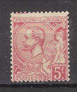 MONACO 1891, Prince Albert 1er , Yvert N° 21, 5 F FRANCS Rose Vif / Verdatre , Neuf * / MH,quasi ** TB - Monaco