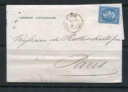 FRANCE- Lettre Du 8  Mars 1866 De GARE DE LYON (68) Pour PARIS (60)- Y&T N°22 - Ambulant PL (DE ROTHSCHILD FRERES) - Poststempel (Briefe)