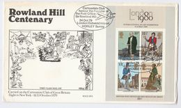 1979 Special GB FDC Miniature Sheet ROWLAND HILL  Cartoonist Club FLIGHT COVER Gatwick Aviation Stamps - FDC