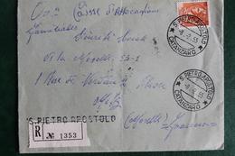 1955      RECOMMANDE  DE   SAN   PIETRO   APOSTOLO  POUR  LA  FRANCE    SUR  ENVELOPPE  COMPLETE - 1946-60: Poststempel