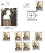 1500g: Österreich 1988, Physik Ernst Mach, Viererblock **, 2mal Gestempelt, Plus Mustermarke - Fysica