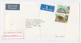 1974 BAHAMAS No1 JOINT RELAY STATION To RADIO WORKSHOP British FORCES SIGNALS BLANDFORD Gb Cover Stamp Turtle Fish - Bahamas (1973-...)