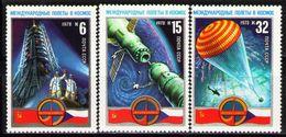USSR Russia 1978 Soviet Czechoslovak Space Programme Flight Spacemen Intercosmos Flags Stamps MNH SG 4746-48 Mi 4704-06 - Stamps