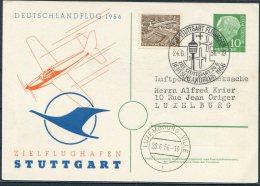 1956 Germany Deutschlandflug Stuttgart Luxemburg Flight Airmail Postcard - [7] Federal Republic