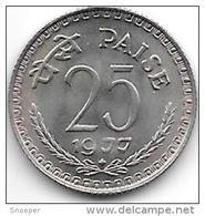 *india  25 Paisa 1977 B  Km 49.4   Unc - Inde