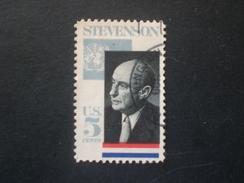 UNITED STATE EE.UU ÉTATS-UNIS US USA  1965 Adhai Stevenson Varieta : Black Print Decal - Errors, Freaks & Oddities (EFOs)