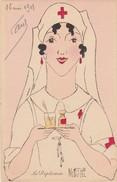 """Illustrateur Marthe Buhi Lot De 3 Cartes Portraits D'infirmières """"la Diplomate"""" """"La Grande Dame"""" """"La Bonne Fille"""" - Otros Ilustradores"""
