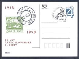 Czech Republic 1998 Postal Stationery Card: Postal Museum Prague; Horse Pferd Cavallo; 80 Years Of Czech Stamps - Poste
