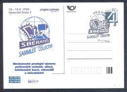 Czech Republic 1999 Postal Stationery Card: Minerals Geology; International Collecting Fair Prague Stamps Telephone Card - Mineralien