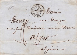 18120# LETTRE Obl CHALON S SAONE 1846 T15 SAONE ET LOIRE Pour ALGER AFRIQUE ALGERIE - Marcophilie (Lettres)