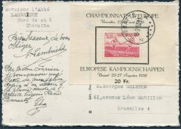 1950 Belgium Cheratte Postcard. Championnats D'Europe, European Athletics Championships Miniature Sheet - Belgium