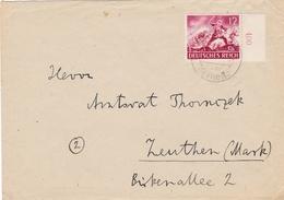 DR,  Mi 836,  Brief  Von Wiedendorf über Ostrowo Nach Zeuthen, 1943 - Deutschland