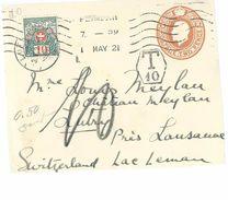 Devant D'entier USA Du 01/05/1921  Pour Lutry  Taxé - Postage Due
